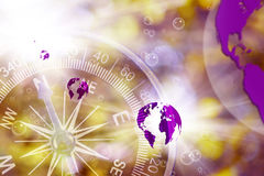Abstract image of compass and planet closeup Stock Image
