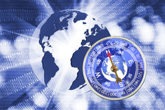 Abstract image of compass and planet closeup Stock Photo