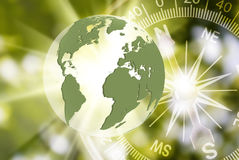 Abstract image of compass and planet closeup Royalty Free Stock Images