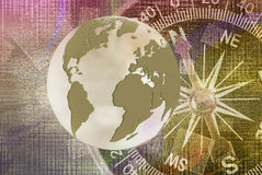 Abstract image of compass and planet closeup Royalty Free Stock Photography