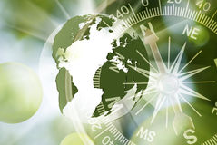 Abstract image of compass and planet closeup Stock Photography