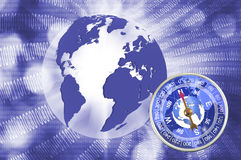 Abstract image of compass and planet closeup Royalty Free Stock Photo
