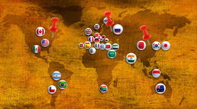 Abstract image of countries on map closeup Stock Images