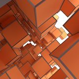 Abstract Image Of Cubes Background In Orange Toned. Template For Your Technology Design. 3D Illustration Stock Photography