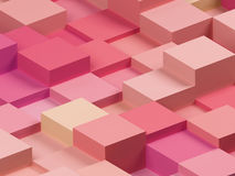 Abstract image of cubes background in pink toned. 3d image. Abstract image of cubes background in pink toned. 3d rendering stock illustration