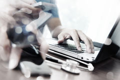 Abstract Image of Doctor working with laptop computer Royalty Free Stock Images