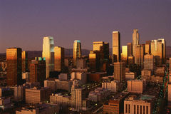 Abstract image of downtown Los Angeles at sunset, California Royalty Free Stock Image