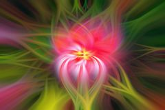 Abstract image of a fantastic flower of red color. With a green leaf. Futuristic energu power bang stock photos