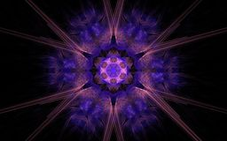Abstract image of a fantastic star flower with six pink rays, lilac petals around on a black background.  royalty free illustration