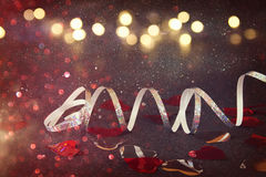 Abstract image of festive ribbon decoration and hearts Royalty Free Stock Photos