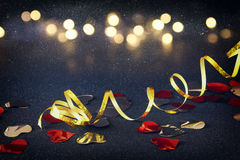 Abstract image of festive ribbon decoration and hearts Royalty Free Stock Images