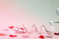 Abstract image of festive ribbon decoration and hearts Stock Photos
