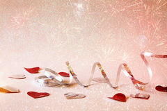 Abstract image of festive ribbon decoration and hearts Royalty Free Stock Photo
