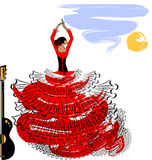 Abstract image of flamenco girl. Abstract sky background and Spanish dancer in red-black dress stock illustration