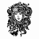 Abstract image of a girl. Vector abstract image of a girl, Black and white decorative girl Royalty Free Stock Photography