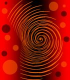 Abstract image with glowing orange spiral and circles on red and black gradient background, fiery infernal emotion Stock Photos
