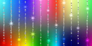 Abstract Shiny Sparkles and Stars in Rainbow Colors Background stock illustration