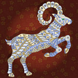 Abstract image of the goat on red floral background. Illustration with abstract ram on a dark floral background Stock Photos