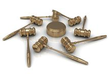 Abstract image 7 golden judges gavel Stock Photos