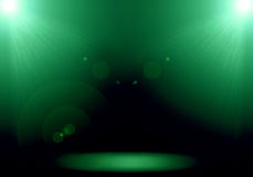 Abstract image of green lighting flare 2 spotlight on the floor. Stage Vector Illustration