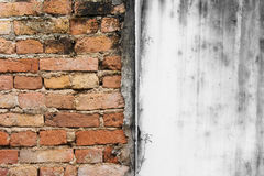 Abstract image of haft red brick wall texture grunge background. Stock Photos