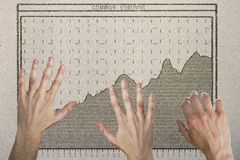 Teamwork and income concept. Abstract image of hands with drawn business chart on concrete background. Teamwork and income concept Stock Images
