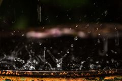 Abstract image of The heavy rain caused a splash with no pattern. Abstract image of Heavy rains cause a splash without a format stock photo