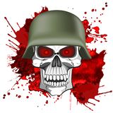 Abstract image of a human skull in an army helmet. On a bloody background Stock Images