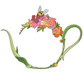 Abstract image of a kettle in the Art Nouveau style. Abstract image of a teapot in a modern style with flowers, leaves and a bee. In the center place for your royalty free illustration