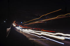 Abstract image of the light trails in night traffic in the city Stock Image
