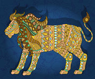 Abstract image of a lion, the animal on a dark blue floral background. Illustration with abstract lion on a dark floral background Stock Images