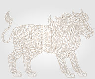 Abstract image of a lion, an illustration of a contour on a light background. Contour illustration of abstract lion , on a white background Royalty Free Stock Image