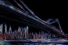 Abstract image of Manhattan Bridge Stock Image