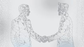 Abstract image of a meeting between two businessmen, handshake. Contract, agreement. Polygons from lines, dots and shapes. Light background. Gray lines vector illustration