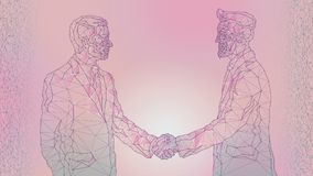 Abstract image of a meeting between two businessmen, handshake. Contract, agreement. Polygons from lines, points and shapes. A pink background. Purple lines vector illustration