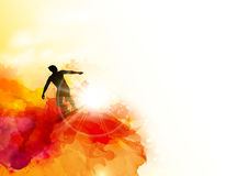 Abstract image of movement, speed and wave. Black silhouette of surfer on the sunset color watercolor blots background. royalty free illustration