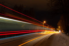 Abstract image of night traffic in Tromso, Norway Stock Photography