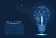 Free Abstract Image Of A Light Bulb Of Lines And Triangles, Dots, Connecting The Network On A Blue Background Stock Images - 156667604