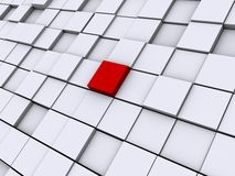 Abstract image of one red cube. Image of a grid of cubes one cube is red vector illustration
