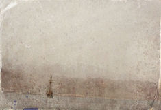 Abstract image of one yacht at open sea. Old style photo. Royalty Free Stock Photos