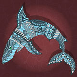 Abstract image of patterned sharks on a dark Burgundy background. Illustration with abstract shark on a dark floral background Stock Photography
