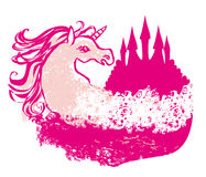Abstract image of a pink castle and unicorn. Illustration Vector Illustration