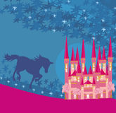 Abstract image of a pink castle and unicorn. Vector Illustration Vector Illustration