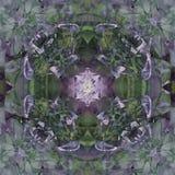 CLOVER FLOWER MANDALA, VINTAGE IMAGE IN GREEN, GRAY, PURPLE, WHITE, ABSTRACT BACKGROUND stock illustration