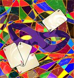Abstract image purple mask and cards. Abstract background carnival purple mask with cards colored image consisting of lines Royalty Free Stock Photography