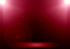 Abstract image of red lighting flare 2 spotlight on the floor st Stock Photo