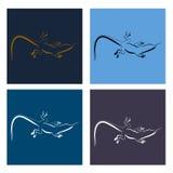 Abstract image of Sand lizard agilis. Logo set. Stock Image