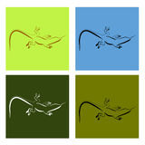 Abstract image of Sand lizard agilis. Logo set. Royalty Free Stock Image