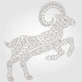Abstract image of a sheep, a dark outline on a white background. Contour illustration with abstract ram, dark outline on a light background Royalty Free Stock Images