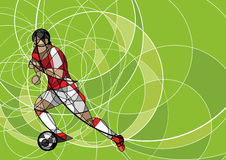 Abstract image of soccer player with ball Royalty Free Stock Image